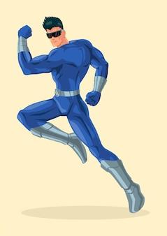 Einfache flache vektorillustration eines superhelden mit visier, karikatur, comic