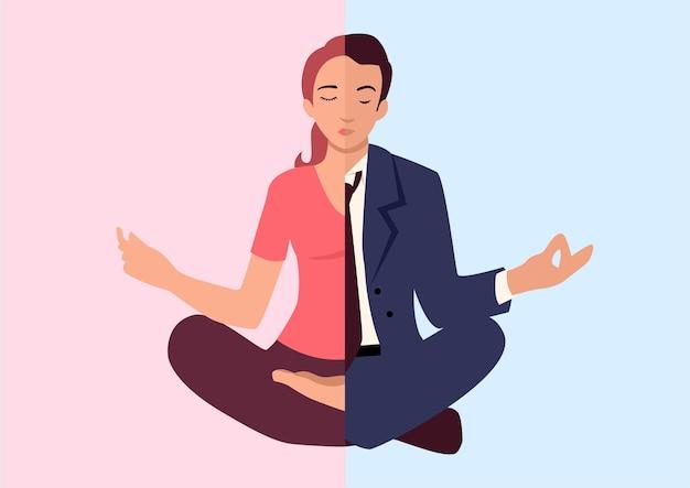 Einfache flache vektorillustration von mann und frau beim yoga