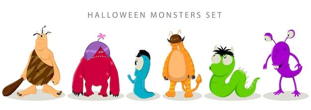 Einfache flache vektorillustration von monstern für halloween