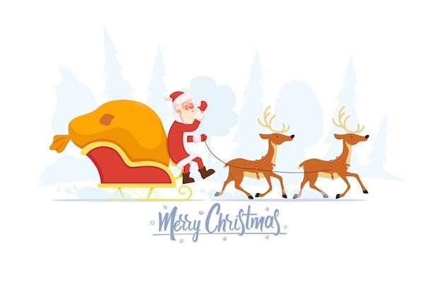 Einfache flache weihnachtskarte mit einem rentier, das den weihnachtsmann im schlitten zieht