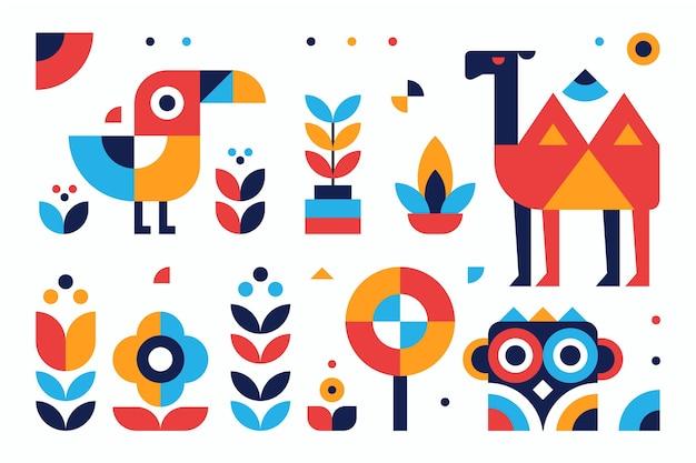 Einfache geometrische elemente illustrationen des flachen entwurfs gesetzt