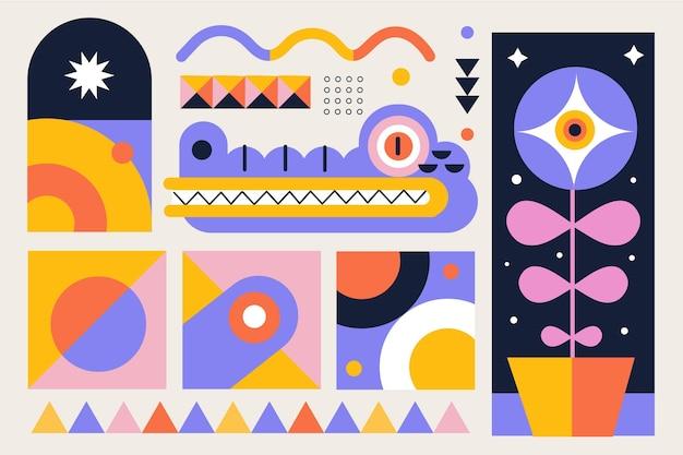 Einfache geometrische elemente in flachem design