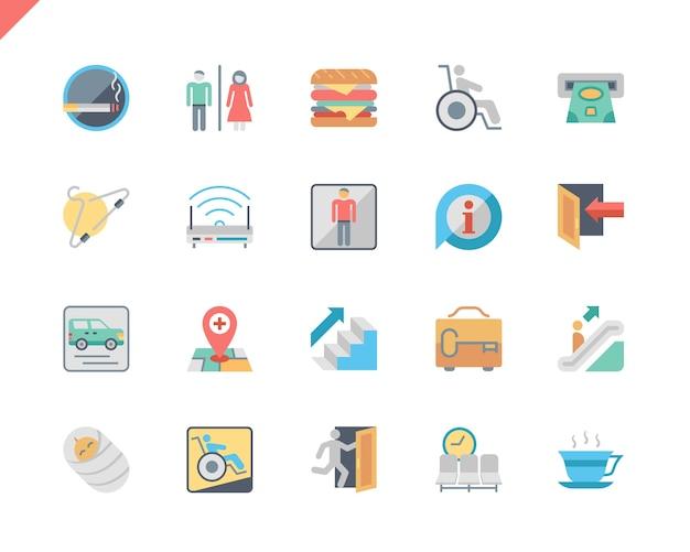Einfache gesetzte flache ikonen der öffentlichen navigation