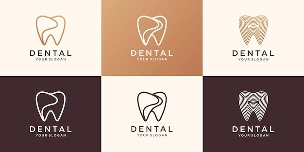 Einfache gesundheit dent logo design vektor vorlage linearen stil. zahnklinik logo-konzept-symbol.