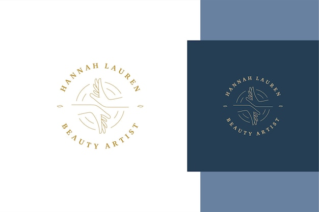 Einfache gliederung emblem vorlage design von weiblichen händen in kreisen für schönheitskünstler salon und service werbung linie stil erstellt