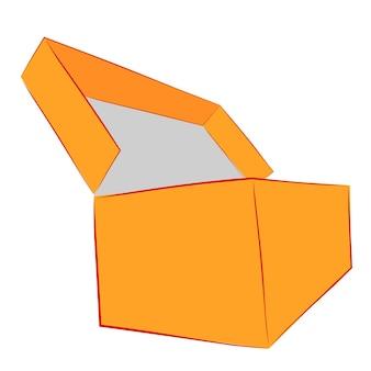 Einfache hand zeichnen skizze vektor mockup orange schuhkarton, isoliert auf weiß