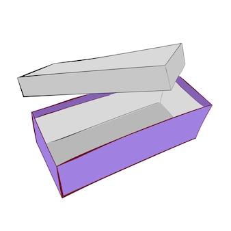 Einfache hand zeichnen skizze vektor vorlage oder mockup lila schuhkarton, isoliert auf weiss