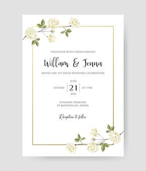Einfache hochzeit mit blumen laden, einladung save the date kartenentwurf mit weißen rosen und blättern ein.