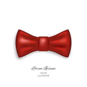 Einfache ikone der fliege oder der krawatte lokalisiert auf weißem hintergrund. realistische 3d illustration der roten seiden- oder satinfliege