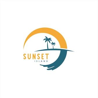 Einfache illustration der palme und des sonnenuntergangsvektors