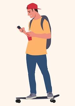 Einfache illustration eines jungen mannes auf skateboard unter verwendung des smartphones