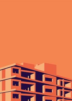 Einfache illustration eines mehrfamilienhauses