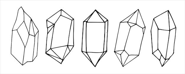 Einfache illustration im doodle-stil-set von kristallen