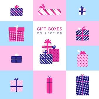 Einfache illustrationen der geschenkboxen eingestellt