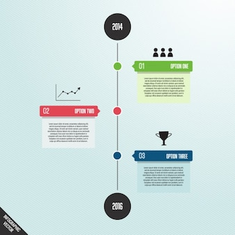 Einfache infografik mit zeitlinie und optionen