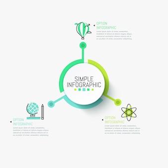 Einfache infografik-vorlage. zentrales kreisförmiges element, verbunden mit drei mehrfarbigen piktogrammen und textfeldern.