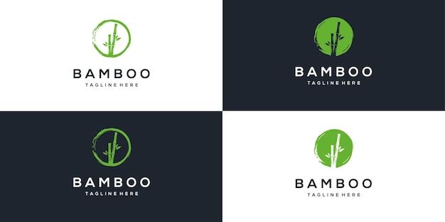 Einfache inspiration für das design des natürlichen bambuslogos