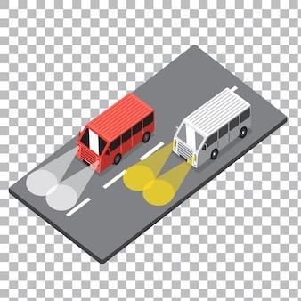 Einfache isometrische autoillustration
