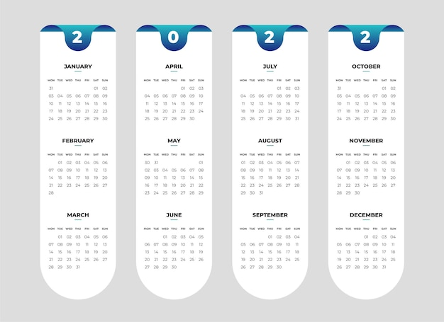 Einfache kalendervorlage für das neue jahr
