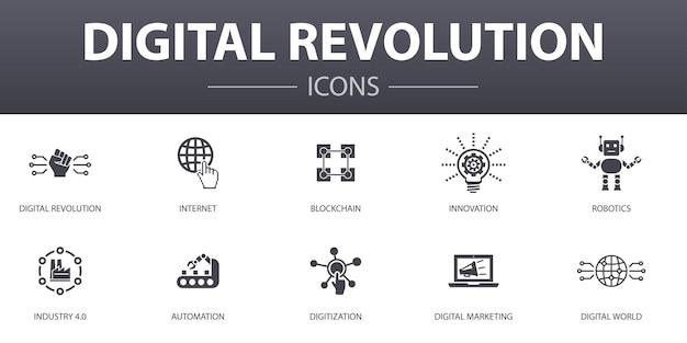 Einfache konzeptikonen der digitalen revolution eingestellt. enthält symbole wie internet, blockchain, innovation, industrie 4.0 und mehr, kann für web, logo, ui/ux verwendet werden