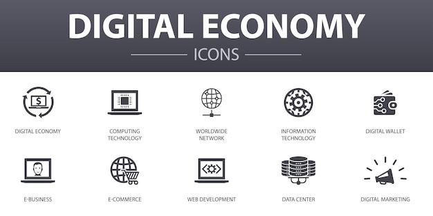 Einfache konzeptikonen der digitalen wirtschaft eingestellt. enthält symbole wie computertechnologie, e-business, e-commerce, rechenzentrum und mehr, kann für web, logo, ui/ux verwendet werden