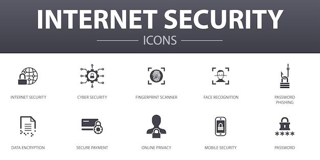 Einfache konzeptikonen der internet-sicherheit eingestellt. enthält symbole wie cybersicherheit, fingerabdruckscanner, datenverschlüsselung, passwort und mehr, kann für web, logo, ui/ux verwendet werden