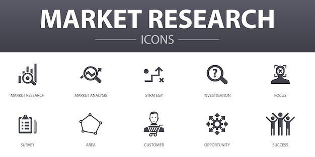 Einfache konzeptikonen der marktforschung eingestellt. enthält symbole wie strategie, untersuchung, umfrage, kunde und mehr, kann für web, logo, ui/ux verwendet werden