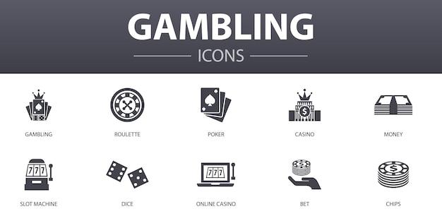 Einfache konzeptikonen des glücksspiels eingestellt. enthält symbole wie roulette, casino, geld, online-casino und mehr, kann für web, logo, ui/ux verwendet werden
