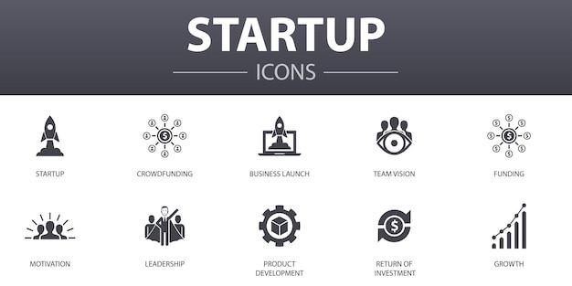 Einfache konzeptikonen des starts eingestellt. enthält symbole wie crowdfunding, business launch, motivation, produktentwicklung und mehr, kann für web, logo, ui/ux verwendet werden