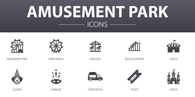 Einfache konzeptikonen des vergnügungsparks eingestellt. enthält symbole wie riesenrad, karussell, achterbahn, karneval und mehr, kann für web, logo, ui/ux verwendet werden