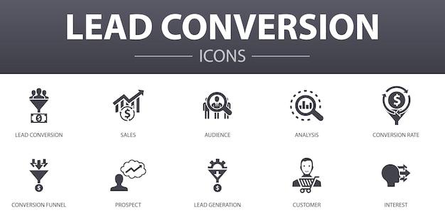 Einfache konzeptsymbole für die lead-konvertierung gesetzt. enthält symbole wie vertrieb, analyse, interessenten, kunde und mehr, kann für web, logo, ui/ux verwendet werden