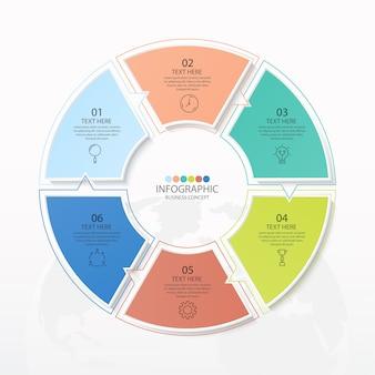 Einfache kreis-infografik-vorlage mit 6 schritten, prozess oder optionen or