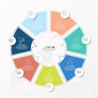 Einfache kreis-infografik-vorlage mit 7 schritten, prozess oder optionen