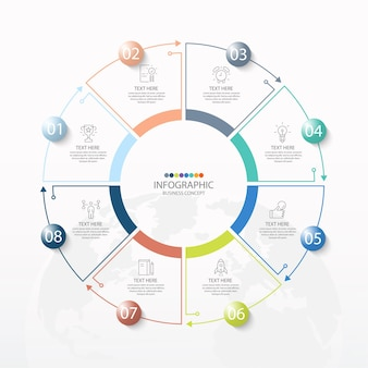 Einfache kreis-infografik-vorlage mit 8 schritten, prozess oder optionen