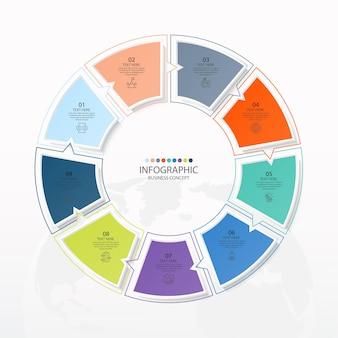 Einfache kreis-infografik-vorlage mit 9 schritten, prozess oder optionen