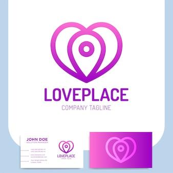 Einfache liebe hören platz logo oder pin navigation icon template designs