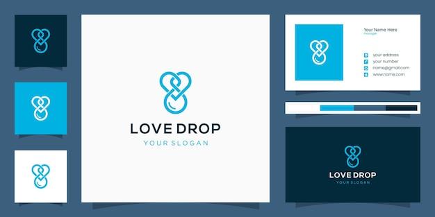 Einfache liebes-drop-logo-vorlage mit überlappendem linienkonzept