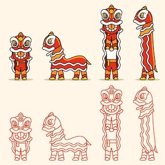 Einfache linie chinesischer lion dance character set