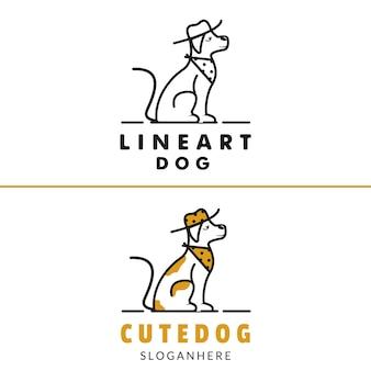 Einfache linie kunst hund mit hut und krawatte logo design illustration modernen stil