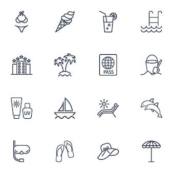 Einfache linie symbolsatz der reise.