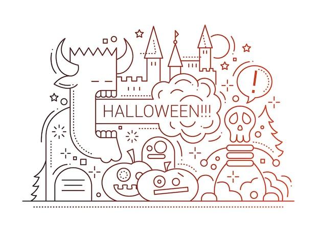Einfache linienentwurfillustration der halloween-partei mit feiertagssymbolen