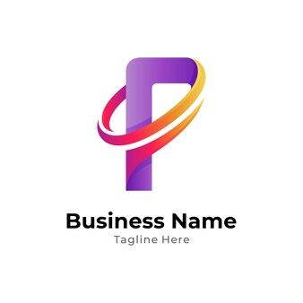 Einfache logo-design-vorlage für den buchstaben p mit swoosh