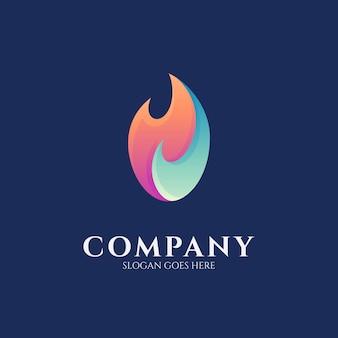 Einfache logo-designvorlage mit feuerverlauf