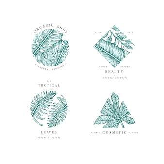 Einfache logo-sammlung. graviertes logo-set. tropischer schönheitssalon und kosmetische symbole