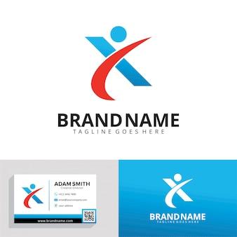 Einfache logo-vorlage für buchstabe x.