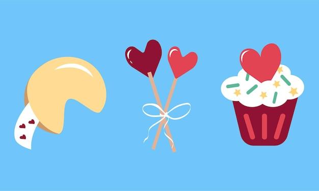 Einfache mehrfarbige symbole für valentinstag, hochzeit, urlaub, geburtstag. satz von symbolen mit glückskeksen, lutscherherzen auf stöcken, cupcakes. flache vektorgrafik auf blauem hintergrund
