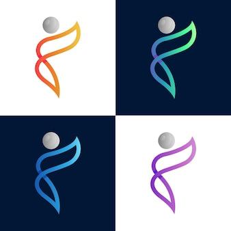 Einfache menschenlinie logo-vorlage