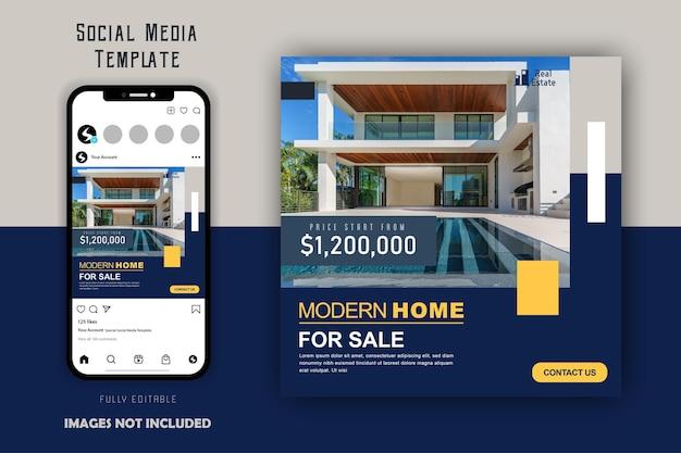 Einfache minimalistische social-media-beitragsvorlage für immobilien