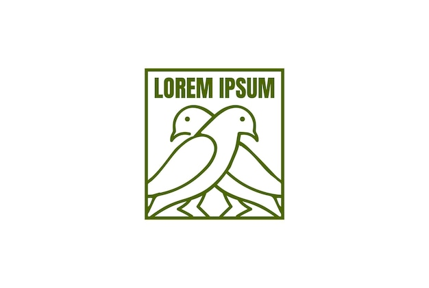 Einfache minimalistische taube taube kanarienvogel nest linie logo design vektor