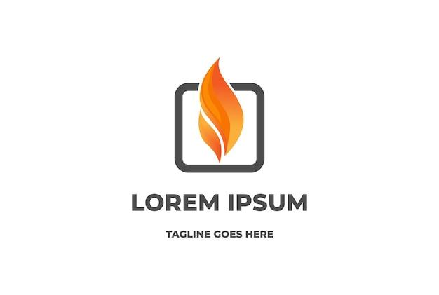 Einfache moderne 3d-feuerflamme für gas-energie-logo-design-vektor